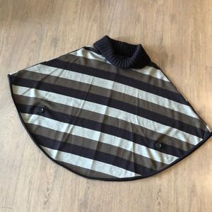 Brown stripped sweater poncho